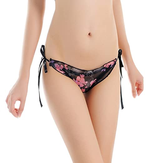 HATEA ❤ Womens Lace Ultra-Thin Transparent Printing Underwear Adjustable  tie Thongs Lace G 551a6b8d3