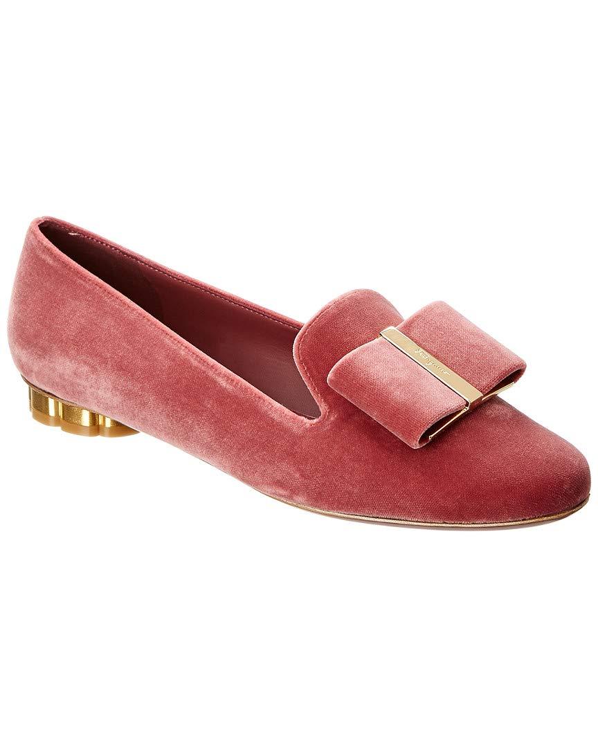 Salvatore Ferragamo Sarno Velvet Slipper, 7 C, Pink