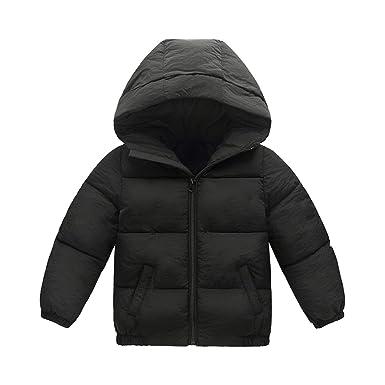 411d0870a8 Phorecys Doudoune Fille Garçon avec Capuche Manteau pour Petit Enfant  Automne Mi-Hiver Noir Etiquette