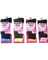 4 Assorted Pair Womens Heated Sox Socks Thermal Keeps Feet Warmer Longer Value Pack
