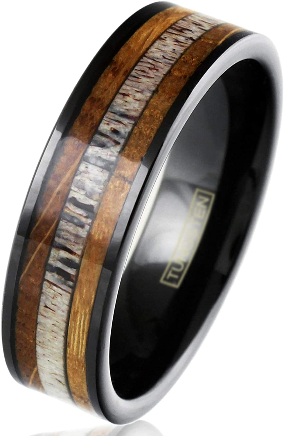 King's Cross Engraved Personalized 6mm/8mm Piano Black Tungsten Carbide Flat Band Ring with Deer Antler Between Whiskey Barrel Oak Wood Inlays.