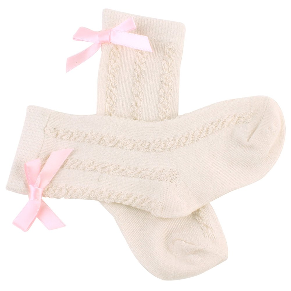 AkoMatial Combed Cotton Lovely Solid Color Bowknot Sock Soft Breathable Socks for Infant Newborn Baby