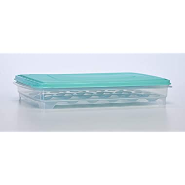 Egg Holder for Refrigerator - Deviled Egg Tray Carrier with Lid, Container for 24 Eggs