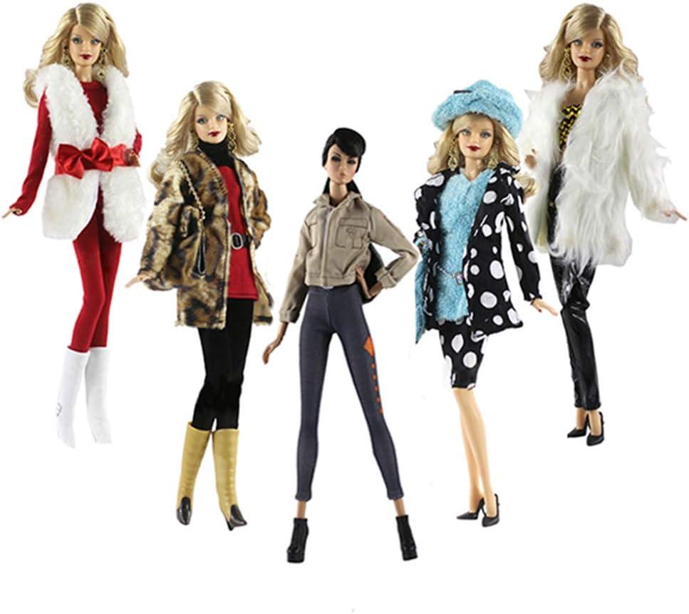 Lance Home Ropa para 29cm Muñecas, 5 Conjuntos Moda Abrigo de otoño Felpa de Invierno Vestidos Pantalones Zapatos Sombrero Rompevientos para 29cm Muñecas Accesorios Bebé Estilo Aleatorio