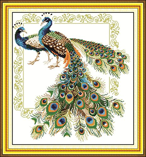 YEESAM ART® New Cross Stitch Kits Advanced Patterns for Beginners Kids Adults - Lucky Peacocks 11 CT Stamped 61x66 cm - DIY Needlework Wedding Christmas Gifts