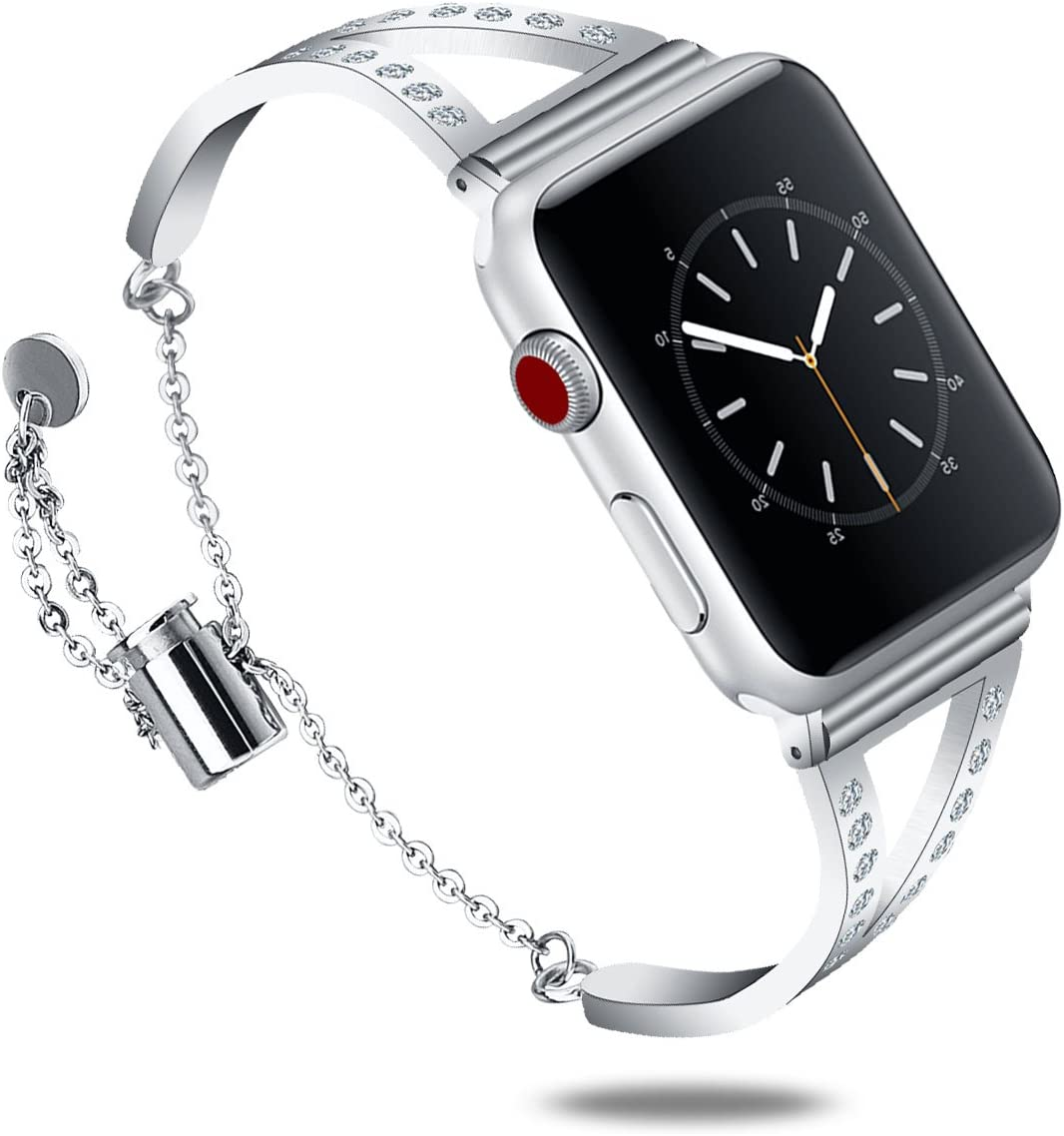 CAGOS Compatible with Apple Watch Band 38mm 40mm Women, Unique Metal Bracelet Classic Cuff Wristbands Stainless Steel Straps Replacement for Apple iWatch Series 5/4/3/2/1 (Silver, 38mm)