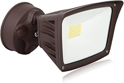 Maxxima Outdoor LED Security Flood Light, 3300 Lumens, 28 Watts, 5000K Daylight, Brown Wall Light