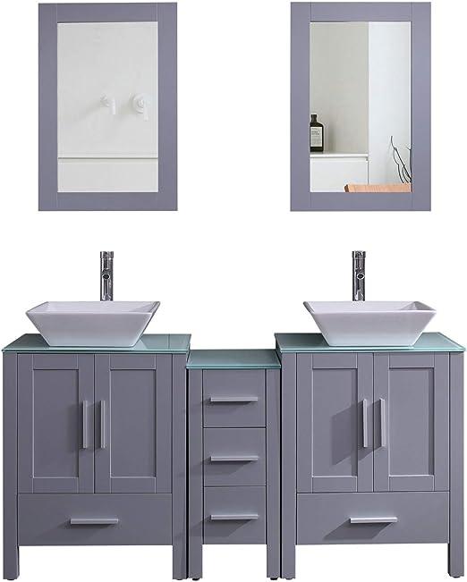Amazon Com Goodyo Modern Gray Double Sink Bathroom Vanity Cabinet