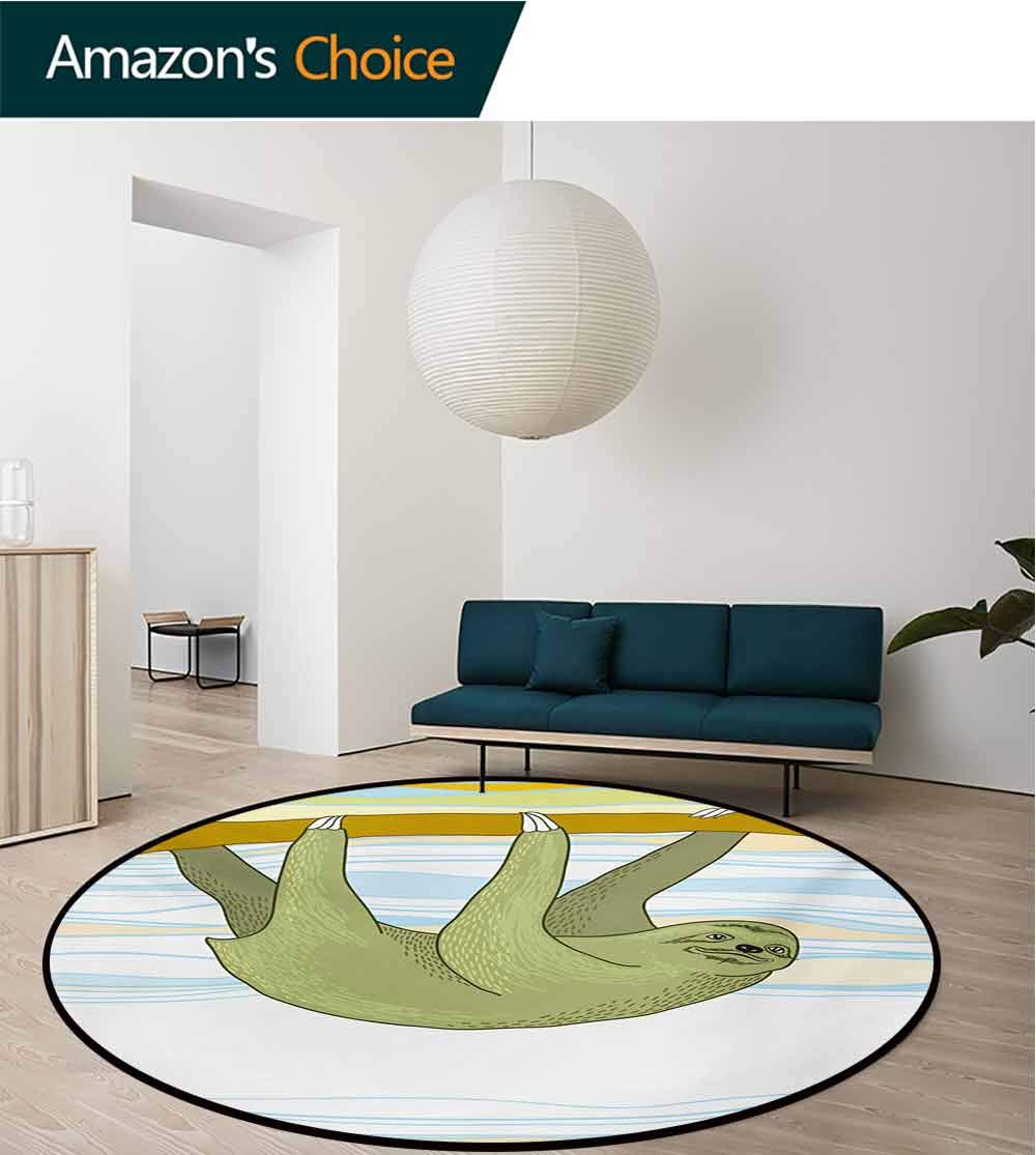 RUGSMAT Sloth Anti-Skid Area Rug,Tropical Habitat Jungle Mammal On Branch Oceanic Wavy Exotic Nature Green Soft Area Rugs,Diameter-59 Inch Army Green Pale Blue Yellow