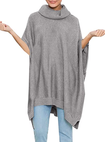 Womens Ponchos Chic Oversized Turtleneck Poncho Sweater With Sleeves