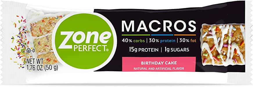 ZonePerfect Macros Protein Bars, with 15g Protein, 1g Sugars, and 18 Vitamins & Minerals, Birthday Cake, 20 Count