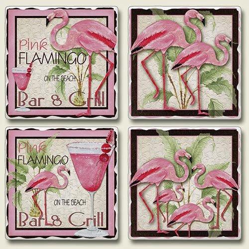 (Coaster Set - Pink Flamingo Bar & Grill Tumbled Stone Coasters - Set of)