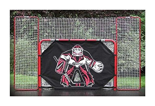 EZGoal 67109  Monster Steel Tube Heavy-Duty Official Regulation Folding Metal Hockey Goal Net, 6 x 4 - Feet, Red – On Goal Net)