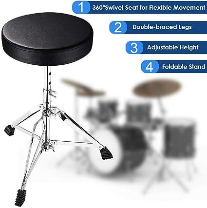 Taburete plegable con asiento acolchado para guitarra, teclado, trono piano banco de teclado ajustable taburete ruedas: Amazon.es: Instrumentos musicales