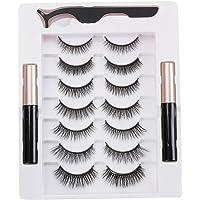 Cílios postiços, cílios magnéticos com eyeliner 7 pares de cílios magnéticos e eyeliner cílios com aspecto natural vem…