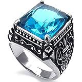 KONOV Schmuck Herren-Ring, Kristall Edelstahl, Klassiker Gotik, Blau Silber