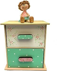 Sin Marca Creaciones Pi-Pé Regalos creativos mueble de madera adornos para el hogar cajonera 2 cajones organizador artículo decorativo con detalles y novedades de decoración para almacenar bellos recuerdos ideal para regalo