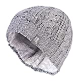 Heat Holders - Womens Thermal Fleece Cable knit winter hat 3.4 tog - One Size (Light Grey)