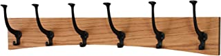 """product image for PegandRail Oak Wall Mounted Coat Rack - Arched Back Design - Black Mission Hooks - Made in The USA (Golden Oak, 30.5"""" x 6.5"""" - 6 Hooks)"""