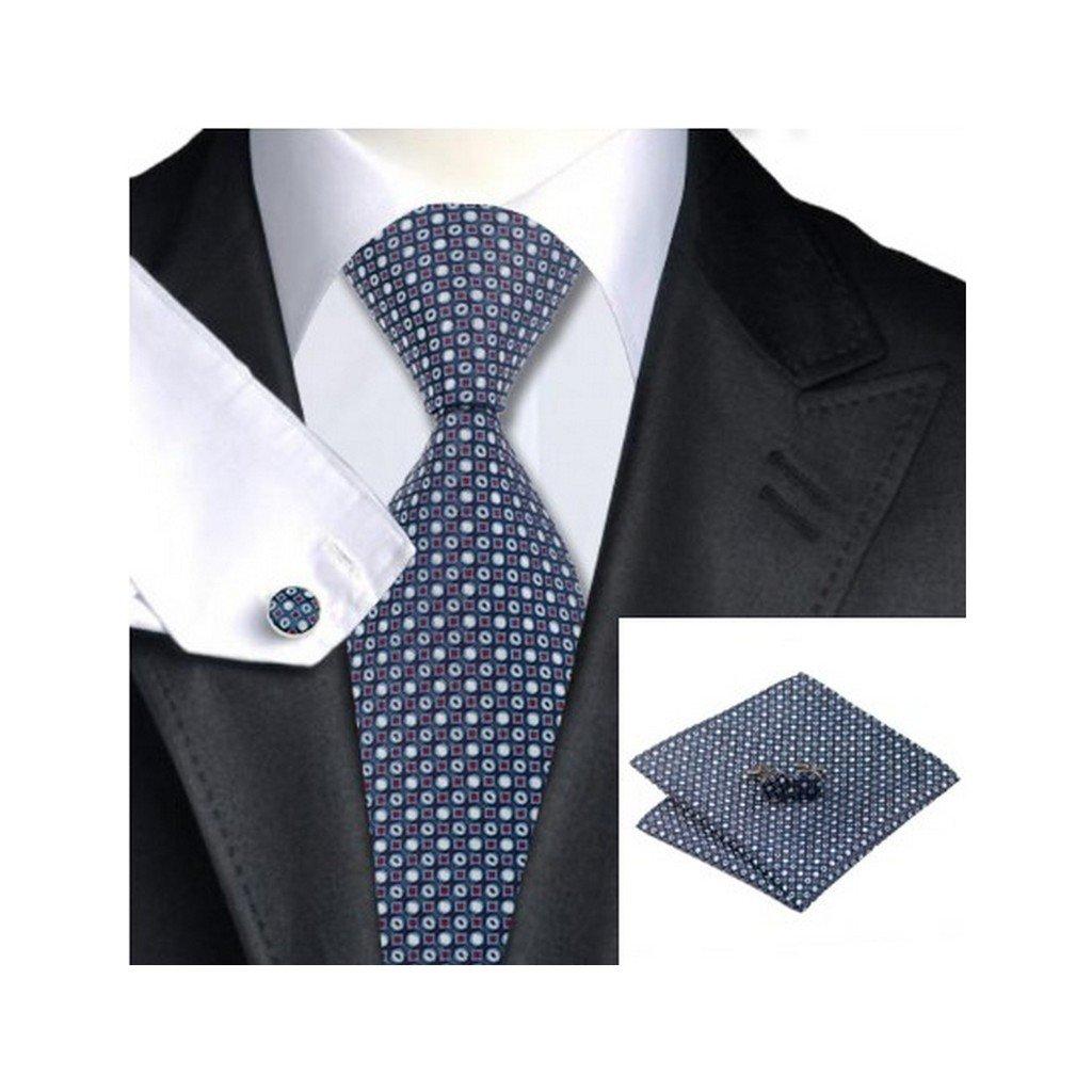 Blue Plaid Classic Silk Necktie Tie Hanky and Cufflinks Set For Men