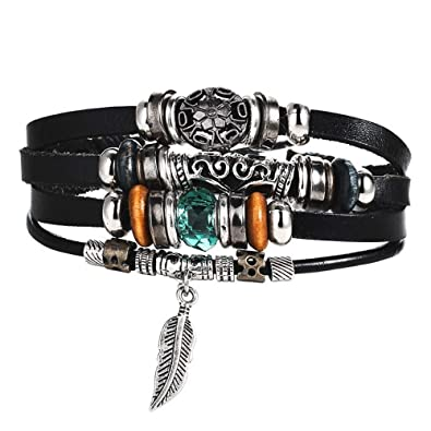 Jiuyuan Turkish Eye Bracelets Wristband Female Owl Leather Bracelet Stone Vintage Jewelry