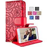 Huawei P9 5.2 Inch Case,Vandot Exclusive PU leather Flip Folio Stand Magnetic Closure Camellia Flower Wallet Case Scratch-resistant Shockproof Cover Protective Skin Shell with Card Slots+ Detachable Wrist Strap -Red