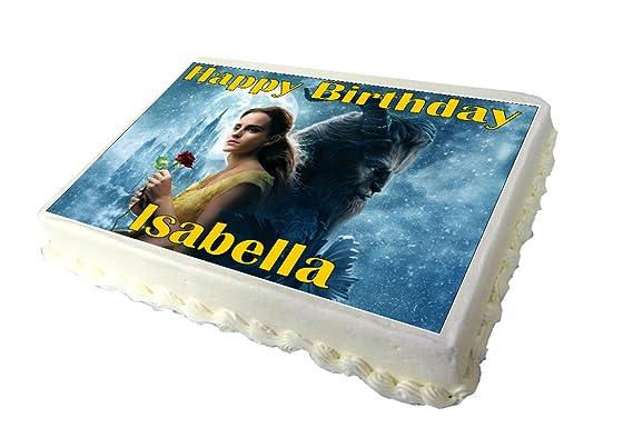Wondrous A4 Beauty And The Beast Birthday Cake Topper Design 1 Amazon Co Funny Birthday Cards Online Elaedamsfinfo