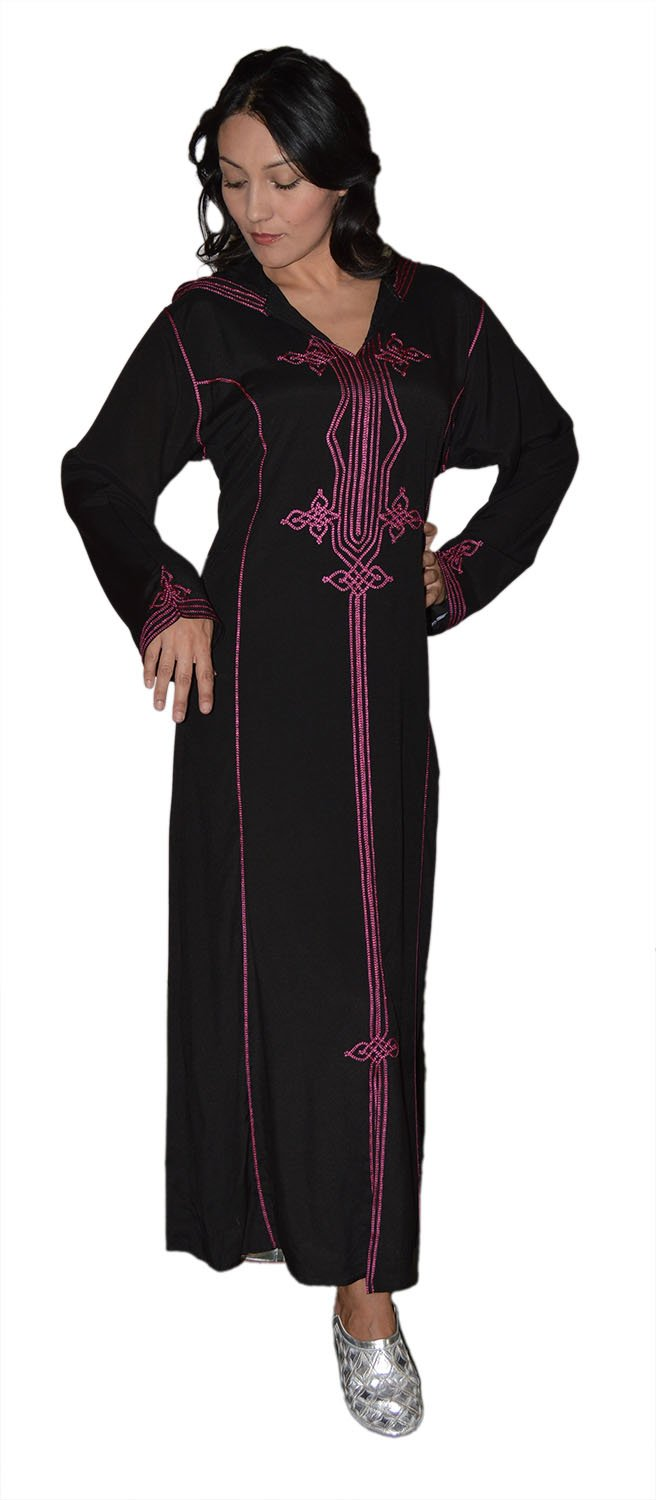 Moroccan Caftans Women Hand Made Djellaba Embroidered Sixe X-Large Black Treasures Of Morocco Najat Djelaba Black x-Large
