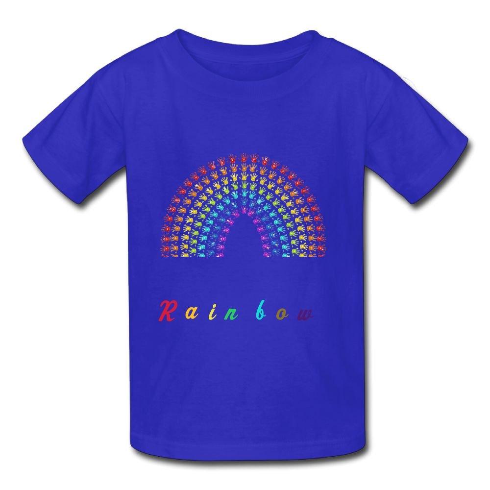 ACFUNEJRQ Palm Rainbow Pure Color 6-24 Months Baby Short-Sleeved T-Shirt