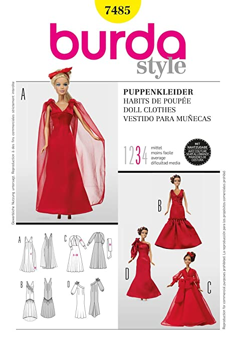 Burda Craft Sewing Pattern 7485 - Doll Clothes Sizes: One Size ...