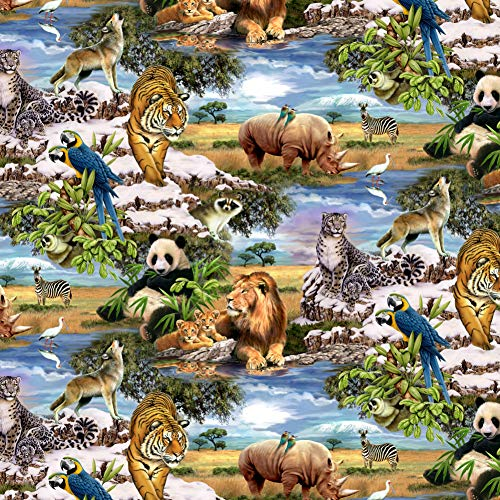 GRAPHICS & MORE World Wildlife Snow Leopard Rhino Wolf Lion Pattern Premium Roll Gift Wrap Wrapping Paper
