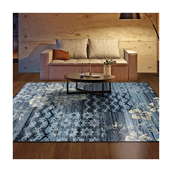 "SUPERIOR Designer 2.6' x 8' Kennicot Collection Area Rug - DURABLE, SOFT, and PLUSH. Woven and crafted with the highest quality 100% Polypropylene fibers for premium quality rugs which are soft and plush yet stand up to high traffic. These gorgeous and elegant rugs are easy to clean, making them perfect for high traffic and spill-prone areas including dining rooms, family rooms, hallways, foyers, playrooms, and children's bedrooms DESIGNER FAVORITE. A lovely floral design mixes with contemporary geometric trellis, chic medallions, and modern distressed stripes in beautiful shades of blue and beige. Superior's Kennicot rug will add soft elegance to complement any room's style. This rug is available in 2' 7"" x 8' runner, 4' x 6', 5' x 8', and 8' x 10' to fit any space in your home. The 10mm or 0.39"" pile height finds the perfect balance between comfortably plush and easy to clean FINE CONSTRUCTION. Well made with jute backing, a non-slip under rug pad is recommended. Our area rugs' polypropylene material is anti-static, moth-proof, and hydrophobic. Their moisture and mildew-resistant nature makes these rugs an ideal choice for humid or damp environments such as finished basements, attic bonus rooms, and laundry rooms - living-room-soft-furnishings, living-room, area-rugs - 61nSf7YUNhL. SS570  -"