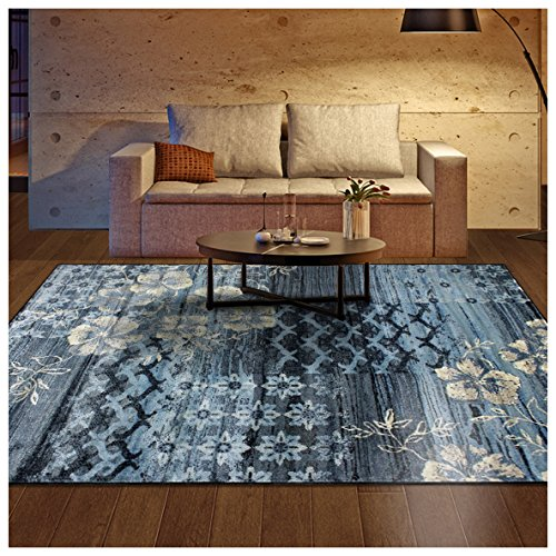 Superior Kennicot Collection Area Rug, 10mm Pile Height with Jute Backing, Fashionable and Affordable Rugs, Floral Geometric and Striped Design - 8' x 10' Rug, Blue and Beige (Geometric Floral Rug)