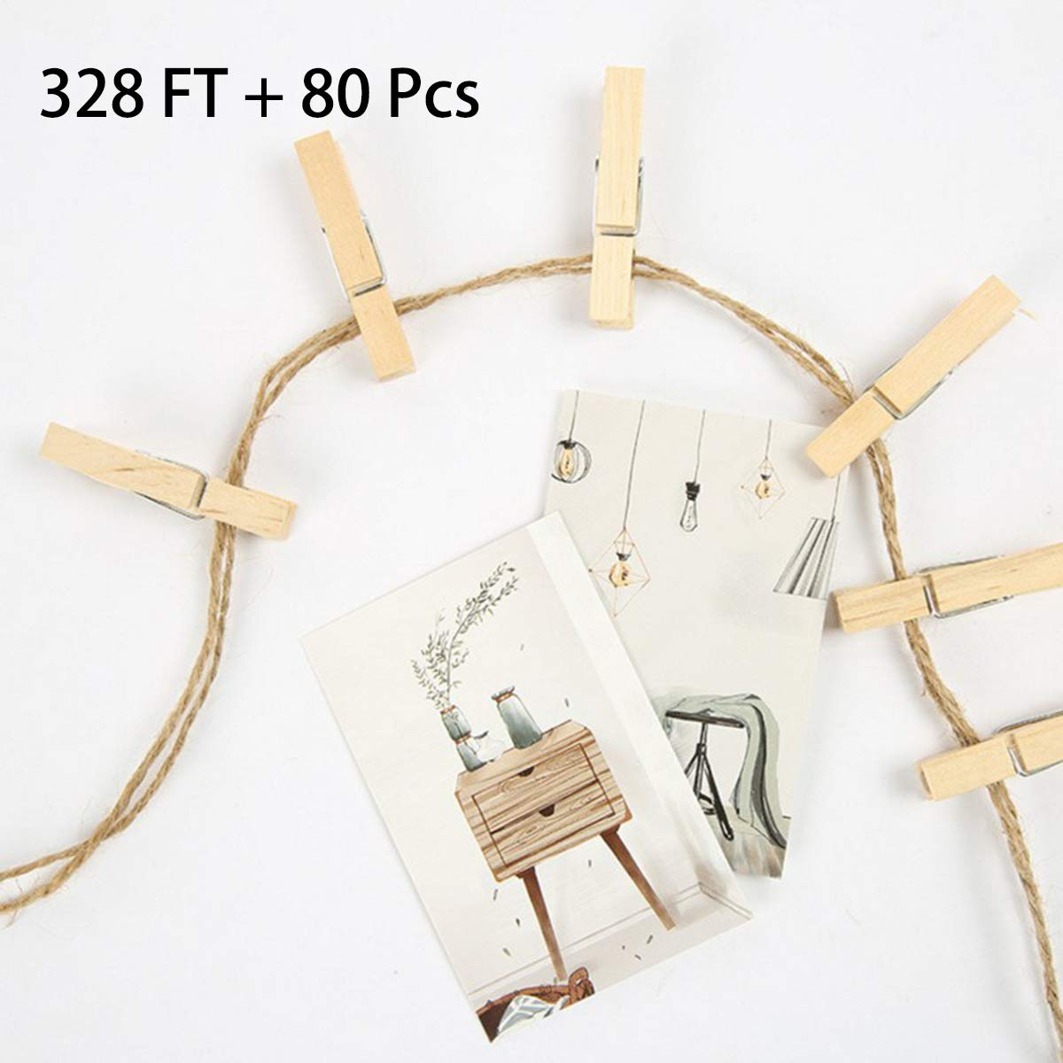 Jute Twine & Mini Clothespins Set, ZOUTOG 328 feet 3mm Natural Twine String with 80 PCS Wooden Clothespins for Picture Hanging/Art Craft/Photo Display