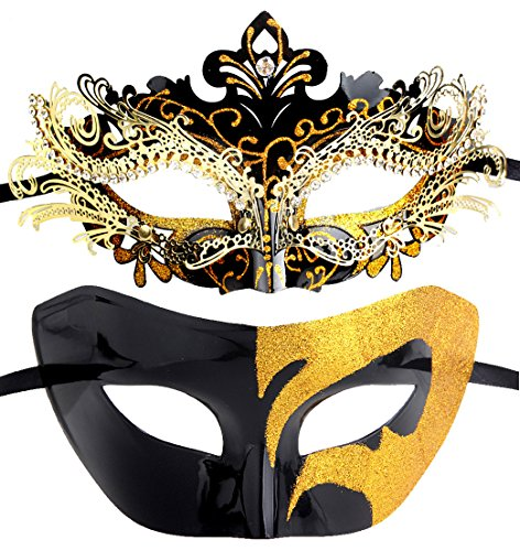Couples Pair Half Venetian Masquerade Ball Mask Set Party Costume Accessory (Black&Gold)