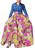 Voguegirl Women's African Floral Printed High Split Printed Dashiki Casual Pleated Maxi Skirt Rose S