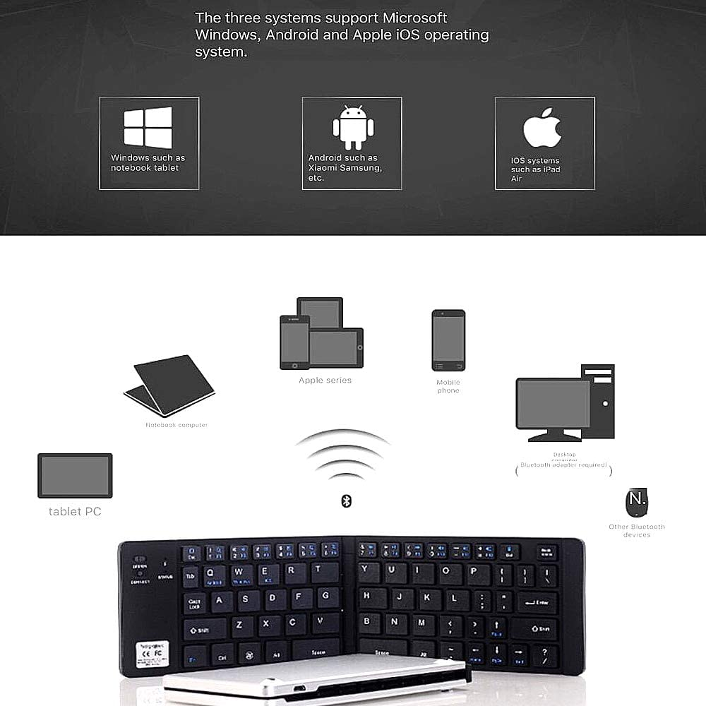 NCBH Ultra-Thin Smartphone Keyboard,Mini Foldable Bluetooth Keyboard Mobile Tablet Ultra-Thin 3 System Universal Wireless Keyboard