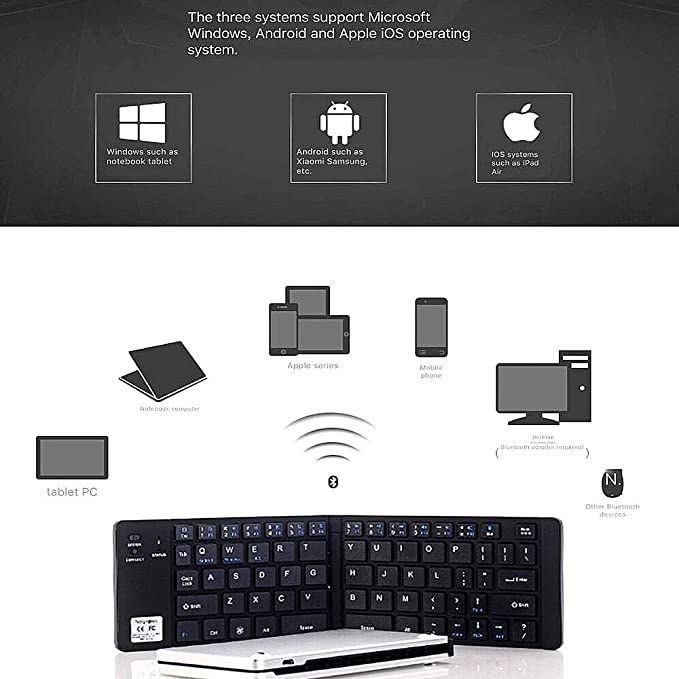 NCBH Smartphone Keyboard,Mini Foldable Bluetooth Keyboard Mobile Tablet Ultra-Thin 3 System Universal Wireless Keyboard for Indoor /& Outdoor Use,Gold