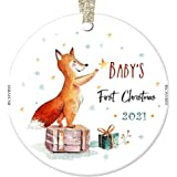 Baby's First Christmas Ornament 2021 Cute Fox Newborn Boy Mommy Daddy 1st Holiday Infant Son Male Child Baby Shower New Paren