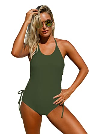 3743e4541bb Amazon.com: White Halter Neck Lace up Sides Monokini One Piece Swimsuit  With Padded Summer Beach Bathing Suits: Clothing