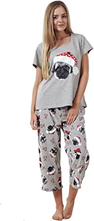 Conjunto de pijama para mujer - Manga corta - Pantalón de estilo pirata - Estampado navideño