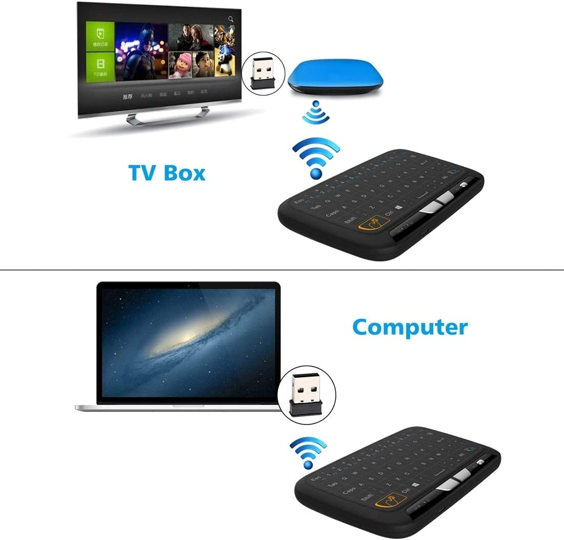 Color : Black Black 2.4GHz Miniskirt Tuner Air Mouse QWERTY Keyboard with Touchpad//Vibration for PC Rcsbtd TV
