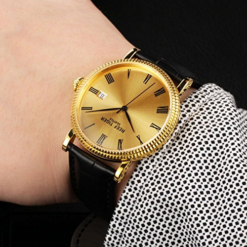 Reef Tiger Designer Dress Watches for Men Yellow Gold Case Leather Strap Date Automatic Watch RGA163 by REEF TIGER (Image #3)