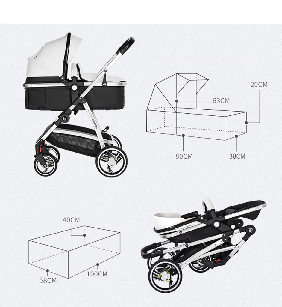 New Baby Stroller Can Sit and Lay Children Light Folding High Landscape Newborn Baby Child Stroller Widened Sleep Blue by Yhz-Baby carriage (Image #2)