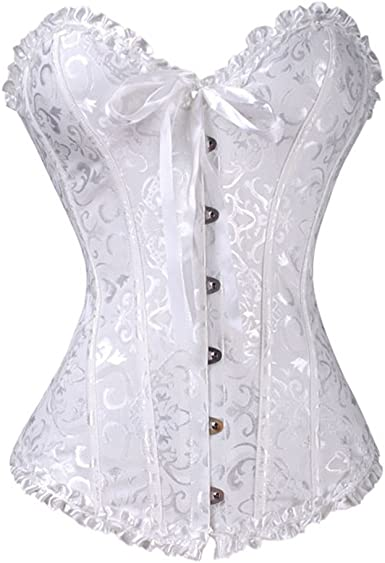 Lace Corset in Ivory Satin