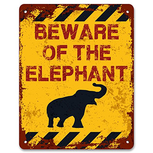 Print Crafted - Beware of The Elephant | Vintage Metal Garden Warning Sign