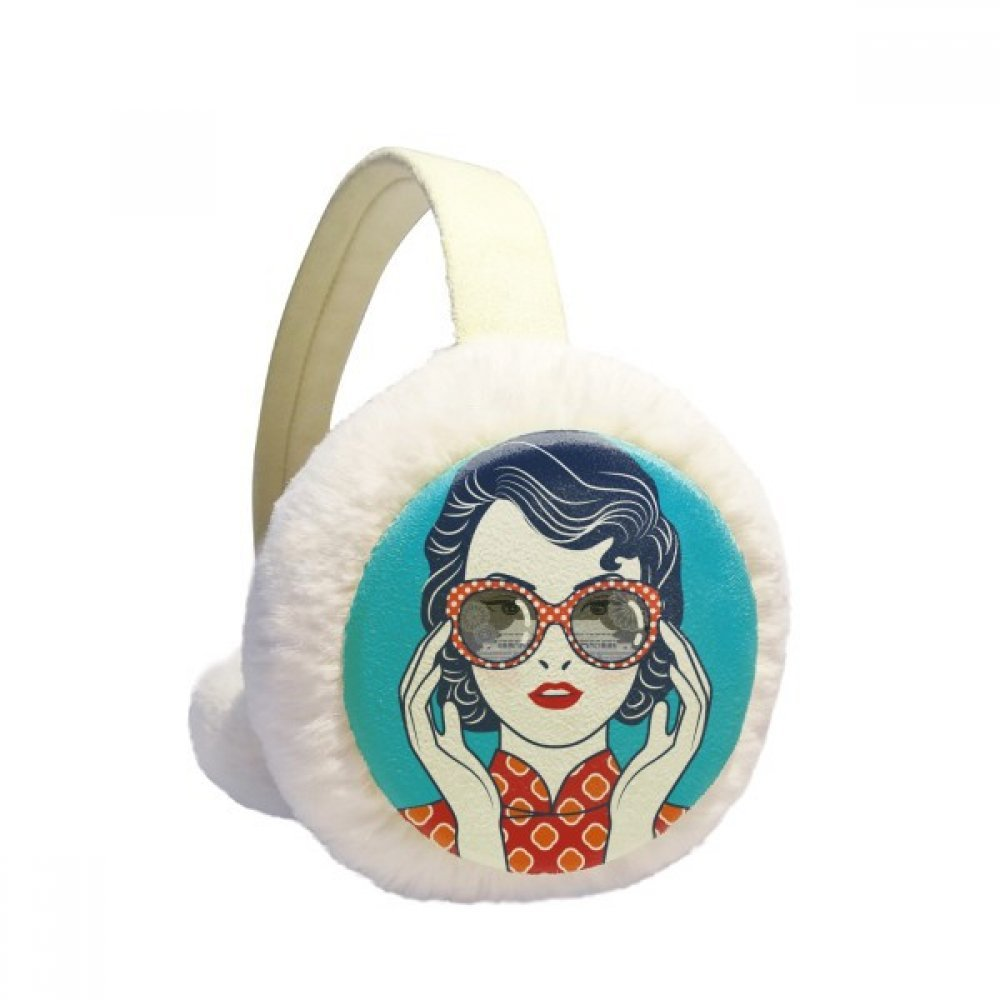 Chinese Culture Blue Woman Glasses Winter Earmuffs Ear Warmers Faux Fur Foldable Plush Outdoor Gift