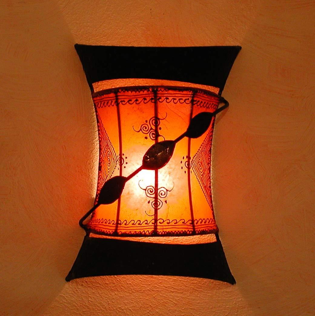 Orientalische Wandlampe marokkanische Wandleuchte Lederlampe Touargiya Orange
