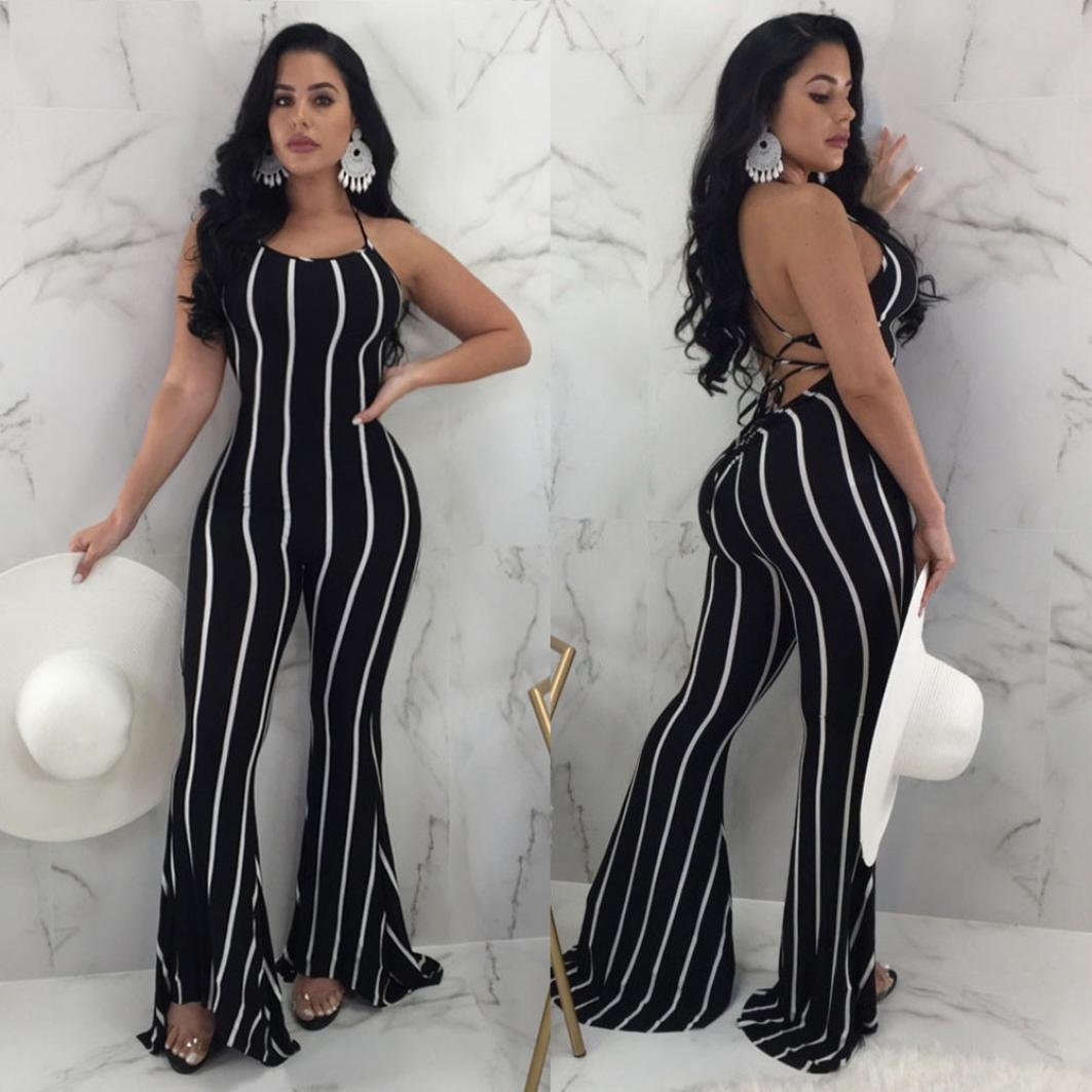34c8211df Amazon.com: vermers Women Clubwear Jumpsuits Flare Wide-Leg Party Pants  Sexy lace-up Trousers Rompers: Clothing