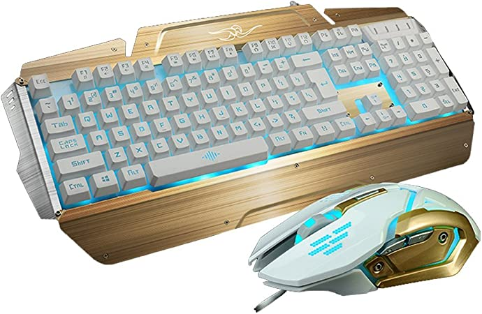 Gaming teclado y ratón - MFTEK conexión de cable USB de 3 LED retroiluminada y teclado de color DPI ajustable ratón Peine